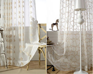 Image Is Loading Luxury Gold Embroidered White Sheer Voile Curtain Net