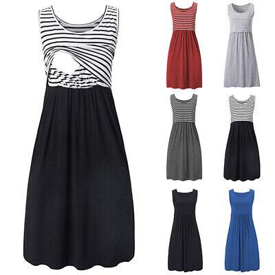 Schwangere Damen Umstandskleid Schwangerschaftskleid Gestreift Mini Stillkleid