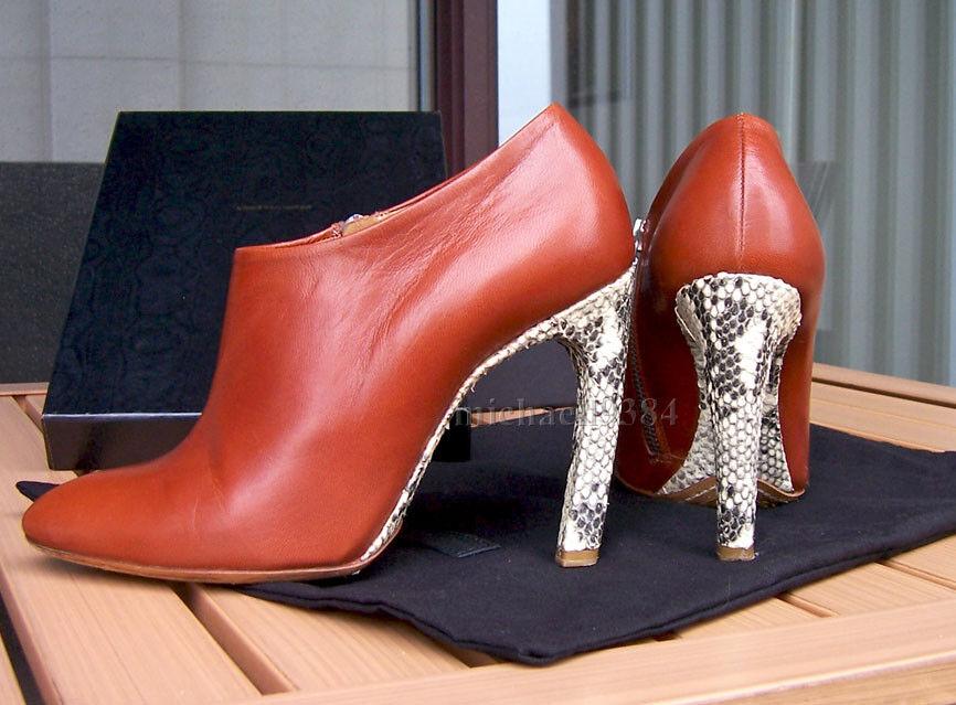 Dries Van Noten FW09 Cognac Brown Leather and Python Heel Booties – Size 36.5