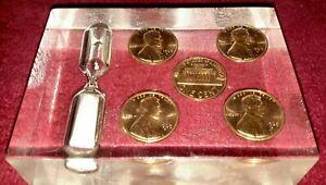 Vtg-Lucite-Cased-1969-D-Penny-Uncirculated-Set-5-Minute-Kitchen-Egg-Timer