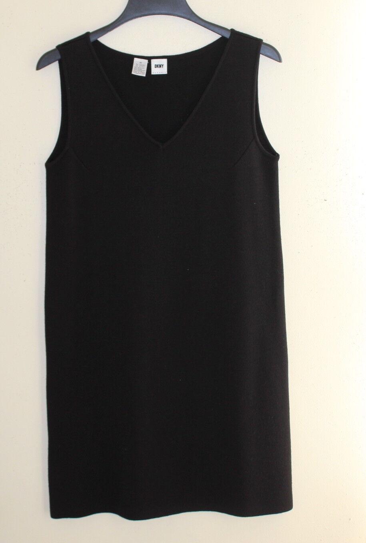 DKNY -Sz M Classic schwarz Vintage 1990s Minimalism Wool Knit Tunic Sweater Dress