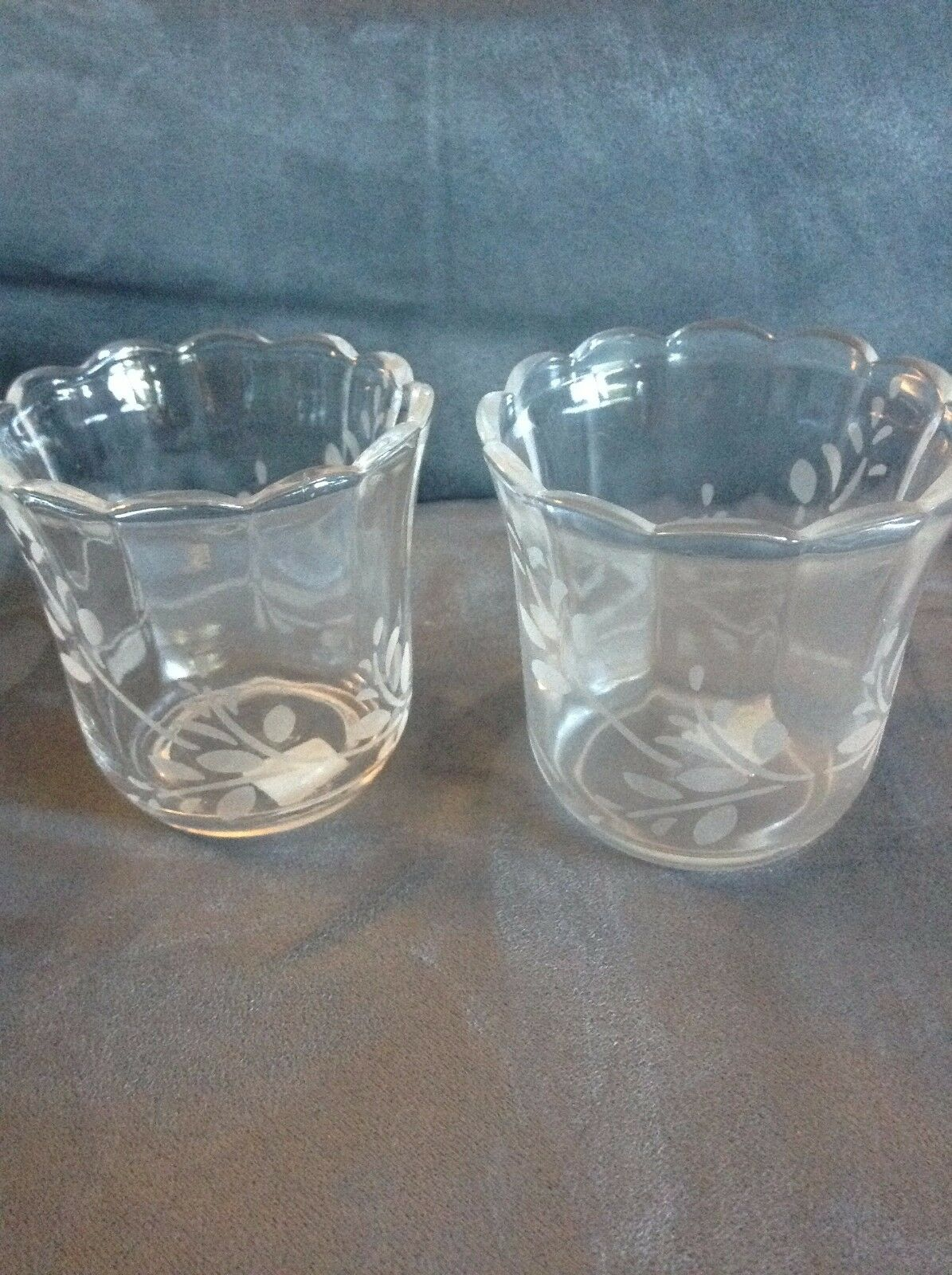 PARTYLITE HERBAL SPRING ETCHED VOTIVE HOLDER PAIR - NEW IN BOX VERY RARE