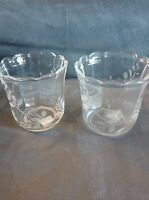Partylite Herbal Spring Etched Votive Holder Pair - In Box Very Rare