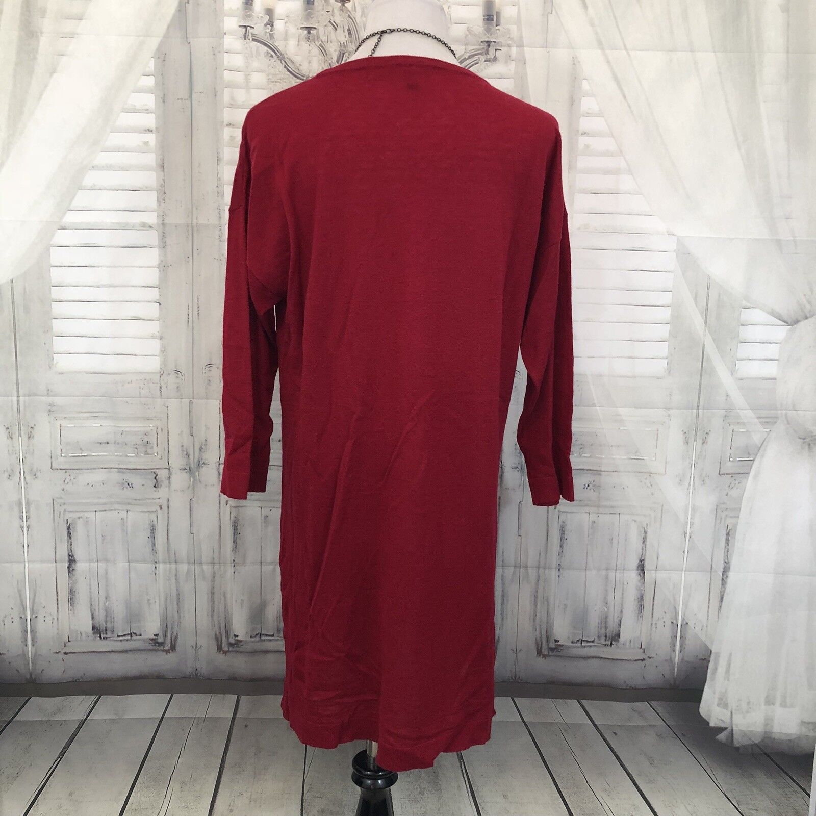 Eileen Fisher S P Small Red Festive Wool Wool Wool Alpaca Tunic Long Sweater Dress B17 98e24f