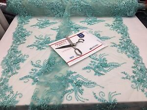 Alicia Design Super Beaded Mesh Lace Fabric Bridal Wedding Mint.Sold By Yard.