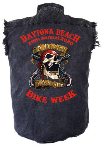 Mens Daytona Beach Bike Week 2020 Pirate Skull Acid Washed Denim Biker Shirt