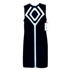 NWT Joseph Ribkoff Dress Black White Sheath Midi Sleeveless Front Cut Out Zip 6