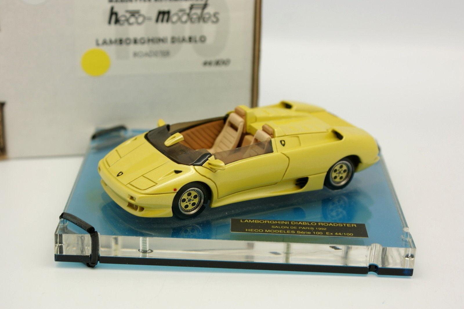 Héco Modèles Résine 1/43 - Lamborghini Diablo Roadster Salon Paris 1992 Jaune