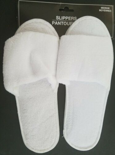 Select Size Ladies Open Toe White Slippers