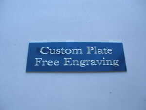 "Engraved Plate trophy Taxidermy 1""x 3"" blue aluminum"