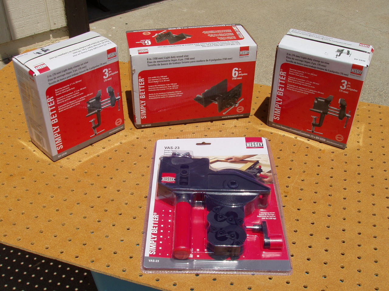 BESSEY STRAP CLAMP VAS-23 + 6  and TWO 3  CLAMP-ON VISES BRAND NEW NIB SET OF 4