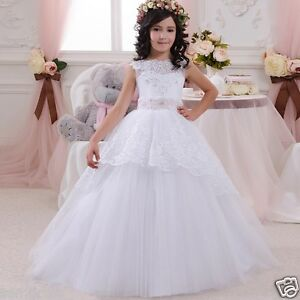 6691db953aa 2018 White Ball Gown Flower Girl Dresses Kids First Communion Dress ...