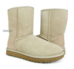 51953d3b294 Details about UGG Classic Short II Sand Suede Fur Boots Womens Size 10 ~NIB~