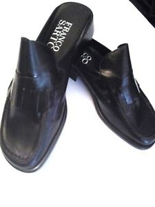 2733c1612e1 Image is loading Franco-Sarto-Barlow-Black-Patent-Leather-Loafers-Mules-