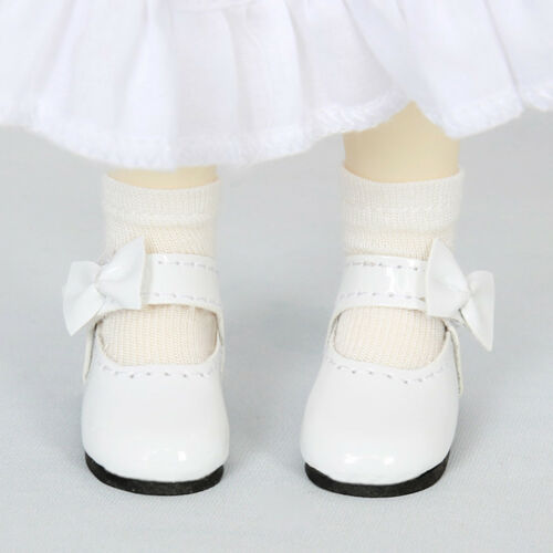 1//6 BJD Doll Bowknot Leather Shoes for Dollfie Doll Sticky Strap Flats White