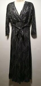 Per-Una-Grey-Leaf-Print-Long-Sleeve-Shift-Dress-Size-10-089g