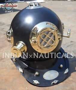 U.s Navy Model Solid Brass & Steel Diving Divers Helmet Size 18 Gift High Quality Goods Other Maritime Antiques