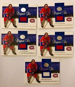 5-LOT-2001-Fleer-Greats-Of-The-Game-Guy-LaFleur-Original-Six-Jersey-Canadiens