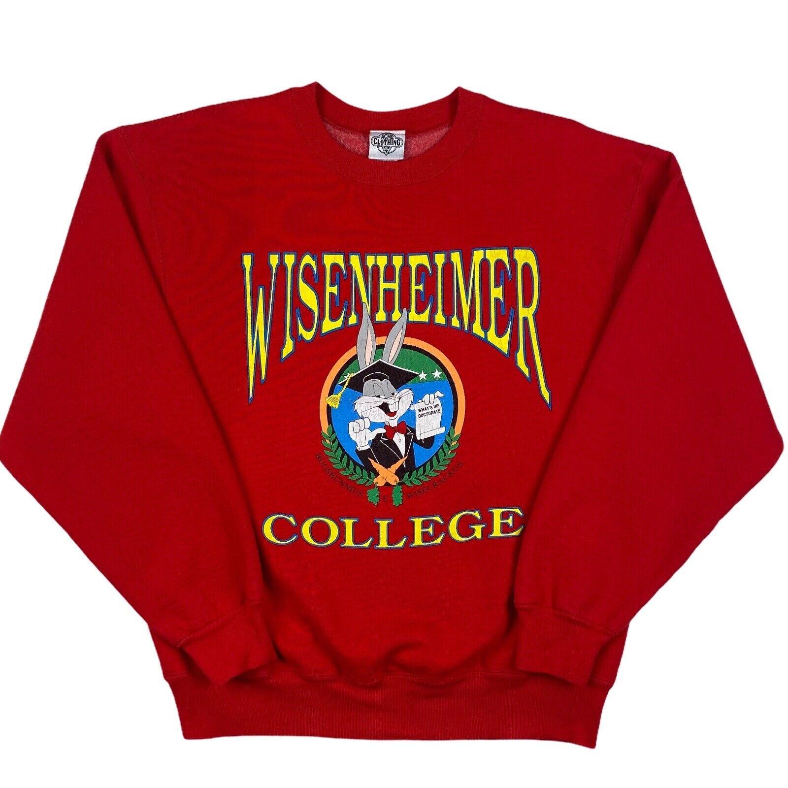Vintage 1991 Acme Bugs Bunny College Sweatshirt Red Medium Made In USA