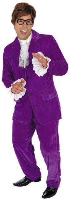 Mens 60s Purple Austin Costume Adult Powers Groovy Gigolo Fancy Dress M L XL
