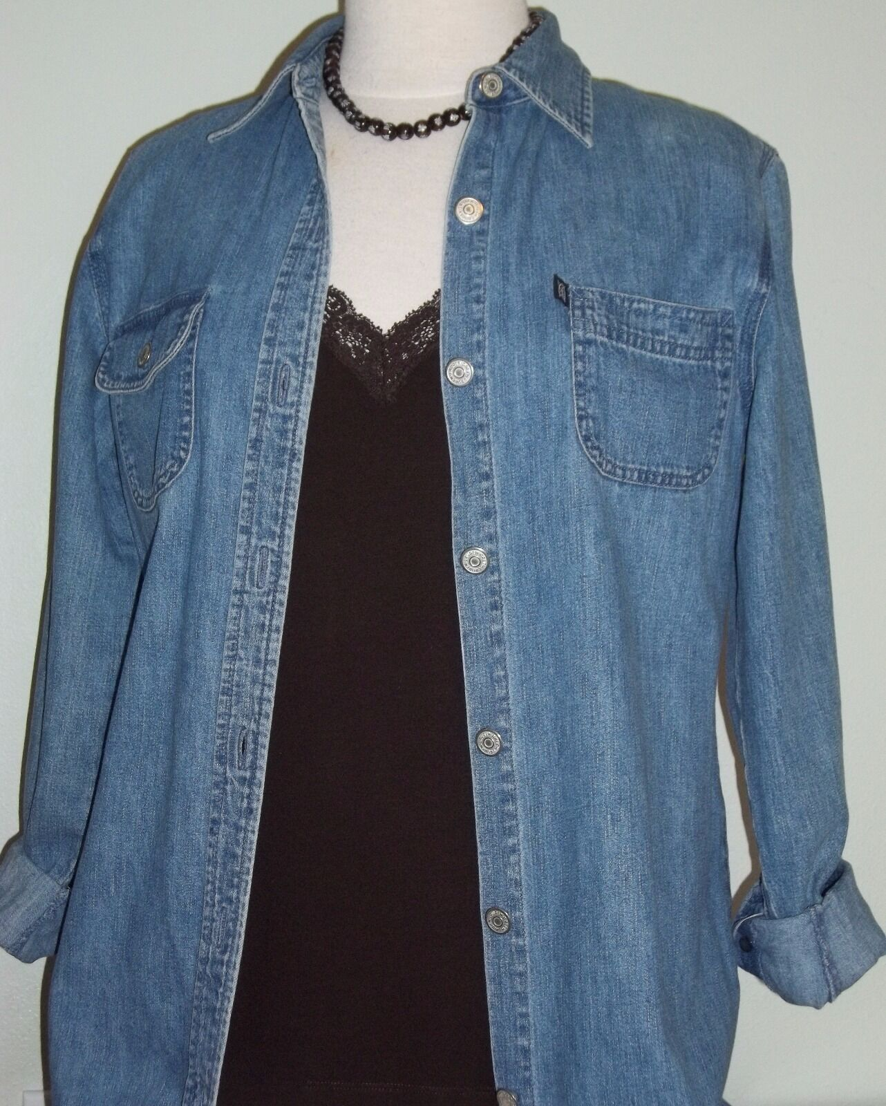 RALPH LAUREN Blau Denim Long Sleeve DRESS, Woherren 8 Petite Full Length + Blouse