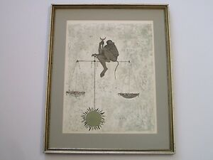 OSSI-CZINNER-LITHOGRAPH-ABSTRACT-SURREAL-SIGNED-DEDICATED-TO-VINCENT-PRICE-LIBRA