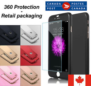 For-iPhone-5-6-7-8-X-plus-360-Full-Body-Thin-Hard-Case-Cover-Tempered-Glass