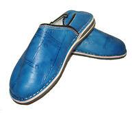 Babouche Marocaine Cuir Gravé Cousues Chaussure Chausson Pantoufle