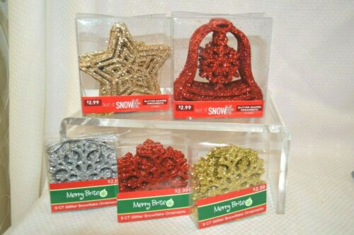 U PICK GLITTER Shaped Ornaments Bells STAR Red GOLD Silver DECOR Holiday PARTY