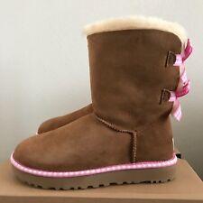 790bdd42013 UGG Womens Size 7 Bailey Bow Gingham Winter BOOTS Chestnut Sheepskin RARE  HTF