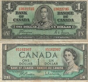 Vintage-Lot-of-2-Canadian-Banknotes-One-Dollar-1937-1954-Pick-58e-74b