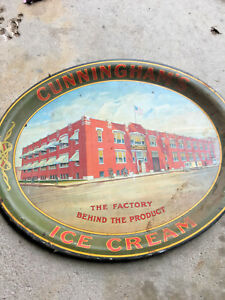 BS4-vintage-RARE-CUNNINGHAM-039-S-ICE-CREAM-amp-ICES-Huge-metal-tray-CHICAGO-ILLINOIS