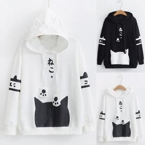Womens-Autumn-Casual-Long-Sleeve-Kitty-Cat-Print-Pocket-Thin-Hoodie-Blouse-Shirt