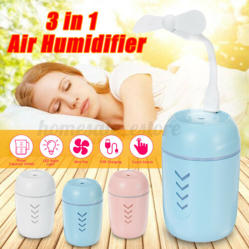 Portable 3 In 1 Air Humidifier Diffuser Purifier Lonizer LED Light USB Fan Home