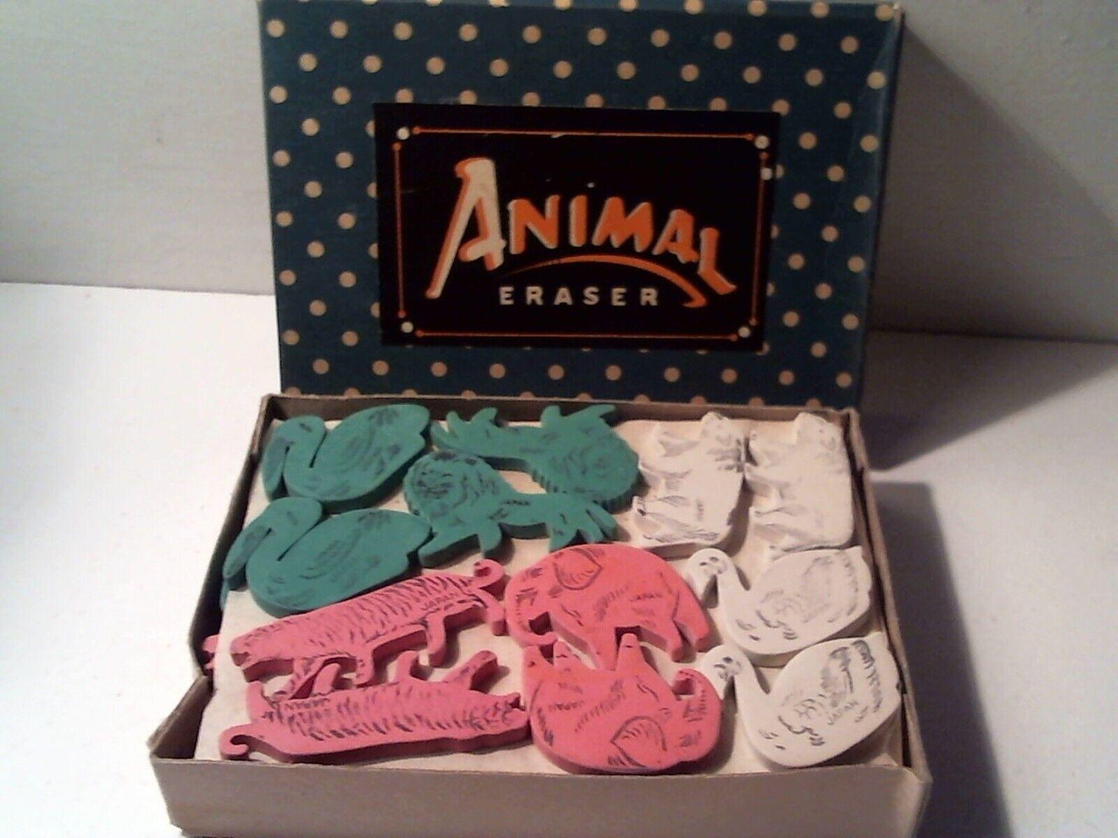 Raro Distribuidor Original Caja Vintage Década de 1950 animal en forma de goma de borrar - 72 gomas de borrar