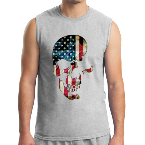 1241C Skull Americana Men/'s Sleeveless United States Flag Muscle Tee