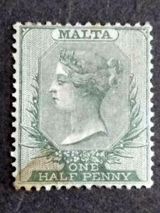 1885 Malta Queen Victoria Wmk Crown CA Half Penny Green - 1v MH