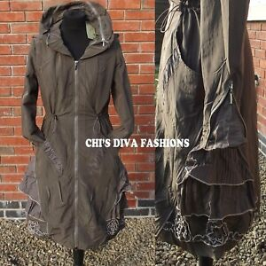 Uk 12 Fleece Hood 22 Quirky Lined Lagenlook Coffee Detachable Jacket Long Coat Sizes qzFy6T