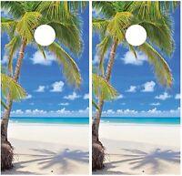 Beach Palm Tree Cornhole Board Decal Wrap Wraps