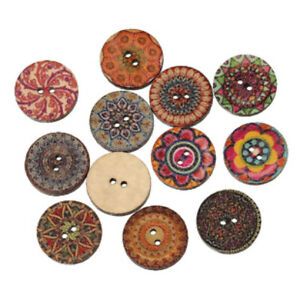 100Pcs-Wood-Flower-Carved-2Holes-Sewing-Buttons-Craft-Scrapbooking-Accessories