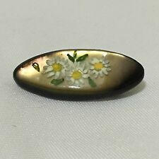 Vintage Retro 1970S Daisy Plasticraft Oval Brooch Pin Mother's Day