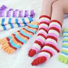 5 Pairs Wholesale Mix Colorful Women's Girl Color stripes five finger Toe Socks