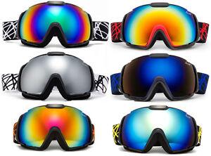 Mens-Snow-Ski-Goggles-Snowboard-Large-Double-Lens-Anti-Fog-UV-Protection-Trendy