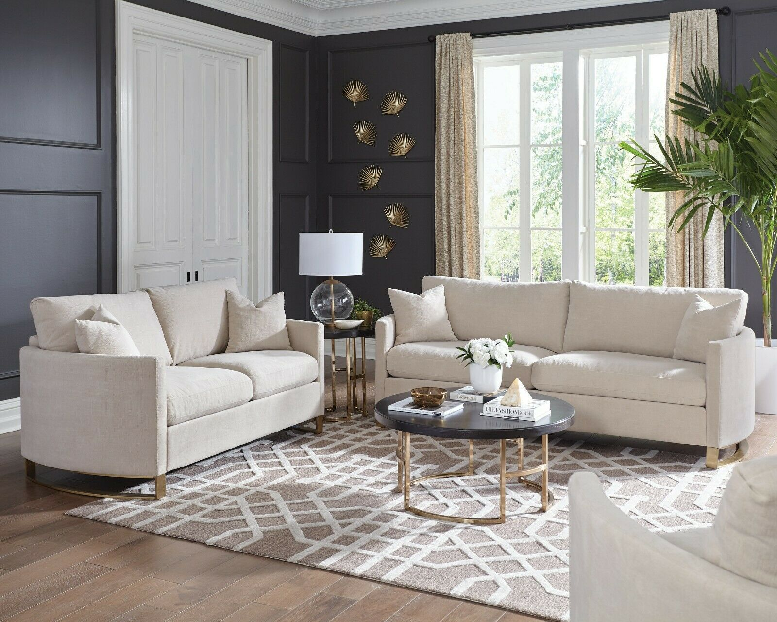 Modern Plush 3-Piece Living Room Set with Sofa Loveseat and Chair Beige  Chenille