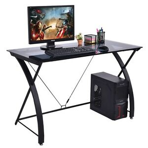 finest selection 114d7 de79b Details about Tempered Glass PC Laptop Computer Work Game Desk Table Home  Office Furniture