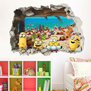 Details about 3D Wall Sticker Minion Smashed Window Baby Kids Room Bedroom  Decor PVC Cartoon