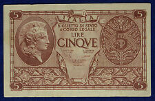 Vittorio Emanuele III° 5 Lire Atena Elmata 23-11-1944  Bolaffi Cavallaro #BI190