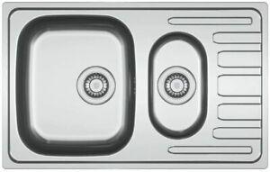 Kitchen Sink reversible 2 tap holes Fits 600mm cabinet 78 x 49cm Bowl 35x41cm
