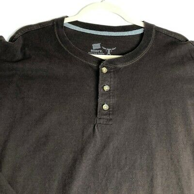 2-Hanes Mens Long Sleeve Beefy Raglan Henley Shirt Mid Charcoal Heather Gray 3XL