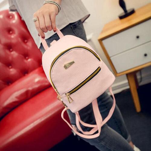 Women Girls Mini Faux Leather Backpack Rucksack School Bag Travel Handbag Solid